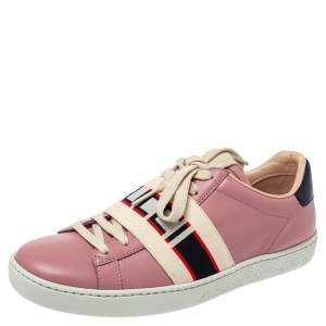 Gucci Pink Leather Ace Gucci Stripe Low Top Sneakers Size 36