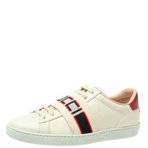 حذاء رياضى غوتشى منخفض من أعلى رباط شعار أيس جلد أحمر /أبيض مقاس 35.5
