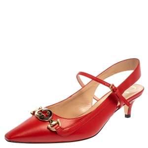 حذاء كعب عالى غوتشى فتحة كعب زومى جلد أحمر مقاس 37