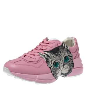 Gucci Pink Leather Mystic Cat Rhyton Sneakers Size 38.5