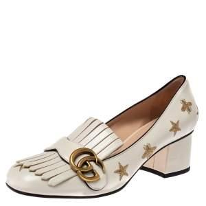 حذاء كعب عالى غوتشى شراشيب مارمونت نجمة جى جى جلد أبيض مقاس 38