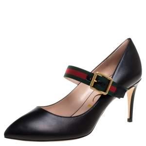 حذاء كغب غالي غوتشي سيلفي ماري جين جلد أسود مقاس 38