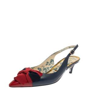 Gucci Blue/Red Leather Bow Slingback Pumps 38.5