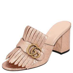 Gucci Metallic Pink Foil Leather GG Marmont Fringe Sandals Size 36