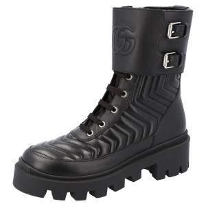 Gucci Black Matelassé Leather Frances GG Platform Combat Boots Size EU 36