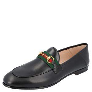 Gucci Black Leather Web Horsebit Loafers Size EU 36
