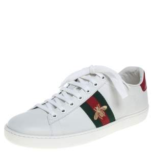 Gucci White Leather Ace Embroidered Sneakers Size 38.5