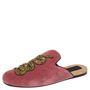 Gucci Pink Velvet Snake Embellished Flat Mules Size 38.5