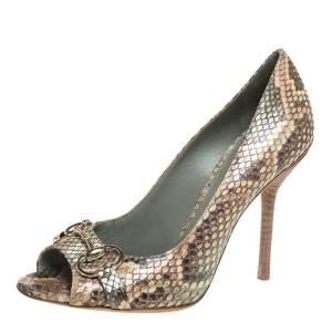 Gucci Multicolor Python Horsebit Open Toe Pumps Size 38.5