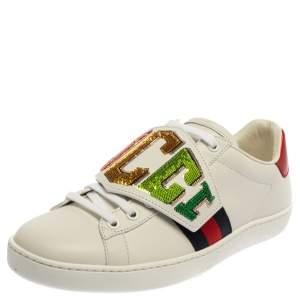 حذاء رياضى غوتشى منخفض من أعلى ويب أيس جلد أبيض مقاس 37