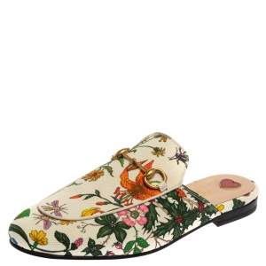 Gucci Multicolor Floral Canvas Princetown Flat Mules Size 38
