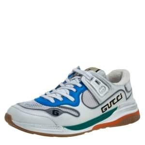 حذاء رياضي بالنسياغا منخفض من أعلى ألترابيس قماش وجلد أبيض مقاس 38