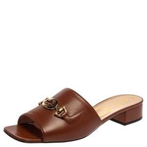 Gucci Brown Leather Zumi GG Interlocking Flat Slides Size 40.5