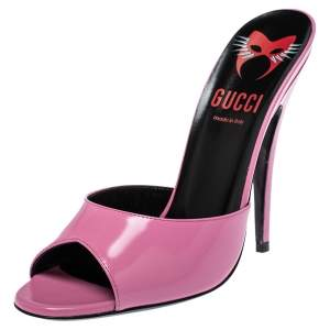 Gucci Pink Leather Scarlet Slide Sandals Size 39