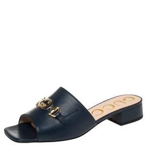 Gucci Blue Leather Zumi GG Interlocking Slide Sandals Size 38