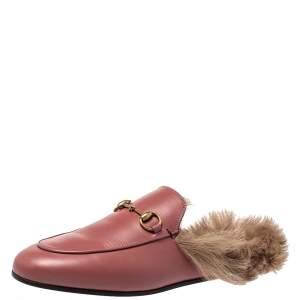 حذاء مولز غوتشى هورسبيت برنستاون فرو وجلد وردى مقاس 38.5