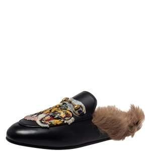 Gucci Black Tiger Embroidered Leather And Fur Princetown Horsebit Mules Size 39