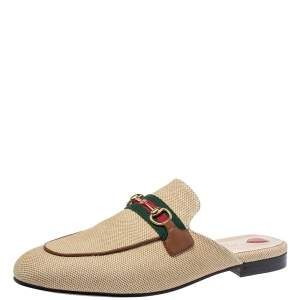 Gucci Beige Canvas And Leather Princetown Horsebit Mules Size 39.5