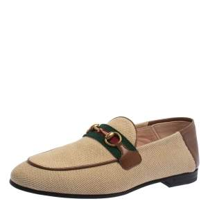 Gucci Beige/Brown Canvas and Leather Horsebit Brixton Loafers Size 37