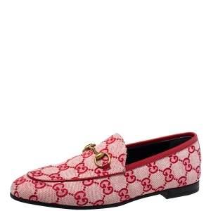 حذاء لوفرز غوتشي جوردان هورسبيت كانفاس جي جي أحمر مقاس 36.5