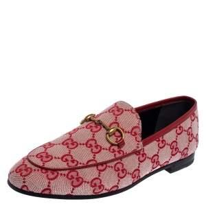 حذاء لوفرز غوتشي جوردان سليب أون كانفاس جي جي أحمر مقاس 37.5