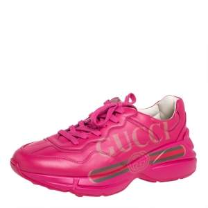 Gucci Pink Leather Rhyton Sneakers Size 40