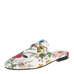 Gucci Multicolor Floral Canvas Horsebit Princetown Flat Mules Size 36.5