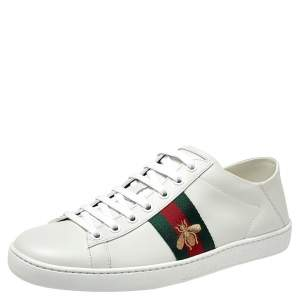 Gucci White Leather Embroidered Bee Ace Low Top Sneakers Size 39