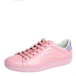 Gucci Pink/Purple Leather New Ace Sneakers Size 37