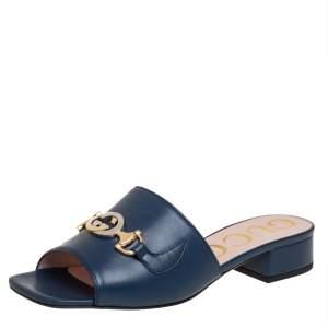 Gucci Blue Leather Zumi GG Interlocking Slide Sandals Size 36