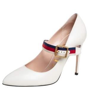 حذاء كعب عالي غوتشي سيلفي ماري حان جلد أبيض مقاس 38.5