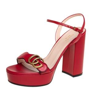 Gucci Red Leather GG Marmont Block Heel Platform Ankle Strap Sandals Size 38.5
