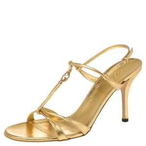 Gucci Metallic Gold Leather Interlocking GG Logo T-Strap Sandals Size 40