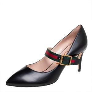 حذاء كعب عالى غوتشى مارى جين سيلفيا جلد وكانفاس أسود مقاس 39
