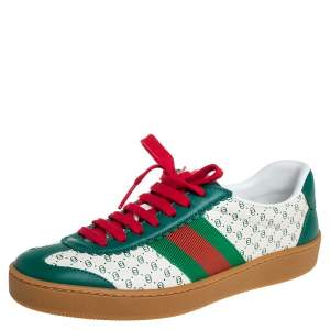 Gucci Green/White Leather Web Dapper Dan Low Top Sneakers Size 35
