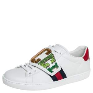 Gucci White Leather Sequin Embellished Ace Web Detail Low Top Sneakers Size 37.5