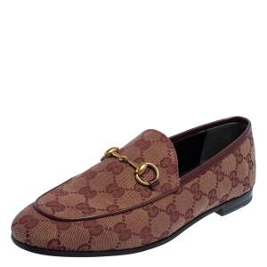 Gucci Burgundy GG Canvas Jordaan Horsebit Slip On Loafers Size 37