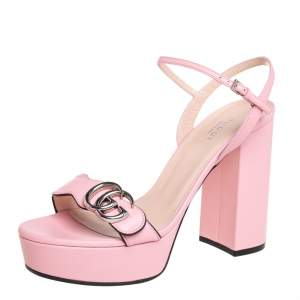 Gucci Pink Leather GG Marmont  Ankle Strap Sandals Size 38