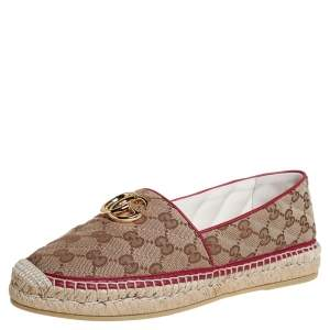 Gucci Brown/Beige GG Canvas Flat Espadrilles Size 39.5