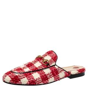 Gucci Red/White Tweed Princetown Mules Sandals Size 39