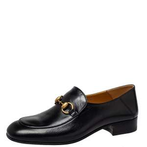 Gucci Black Leather Horsebit Loafers Size 38.5