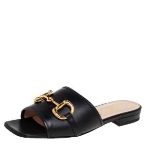 Gucci Black Leather Horsebit Flat Slides Size 36
