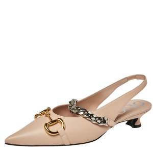 Gucci Beige Leather Horsebit Pointed Toe Slingback Sandals Size 39