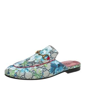 Gucci Blue/Grey GG Canvas Floral Print Princetown Mules Size 37