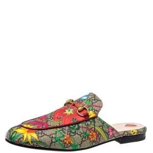 Gucci Multicolor GG Supreme Canvas Floral Print Princetown Mule Sandals Size 38