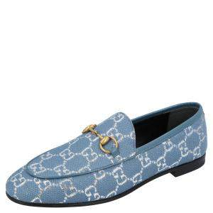 Gucci Blue/Silver GG Canvas New Jordaan Loafers Size EU 36