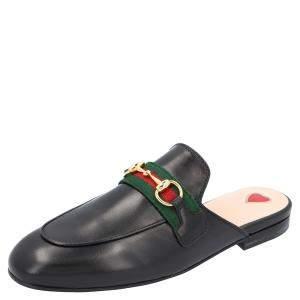Gucci Black Leather Princetown Mules Size EU 35