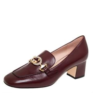 Gucci Burgundy Leather Horsebit Loafers Pumps Size 37