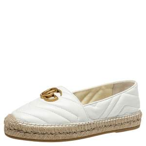 Gucci White Quilted Leather GG Espadrilles Size 36