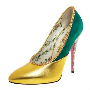 Gucci Gold/ Green Suede And Leather Crystal Embellished Pumps Size 37
